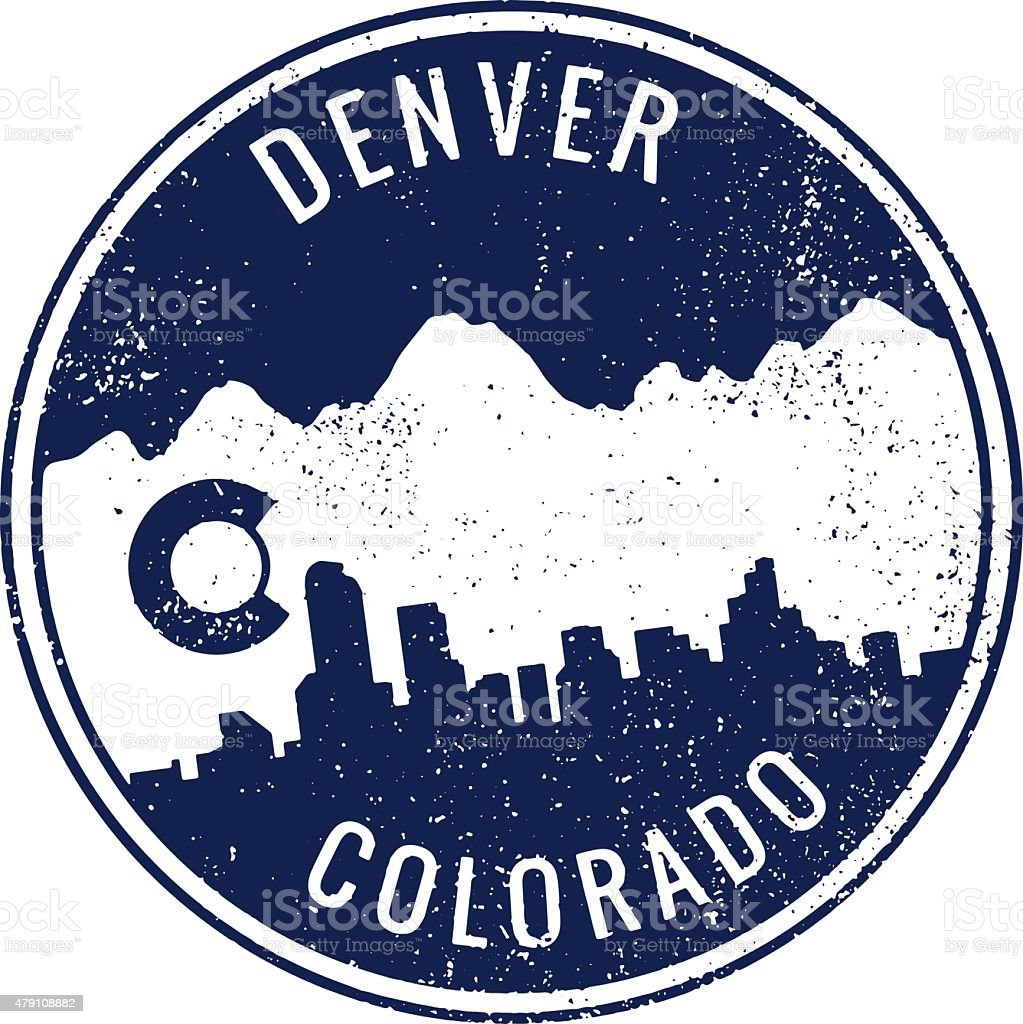 Denver Colorado Cityscape Stamp vector art illustration