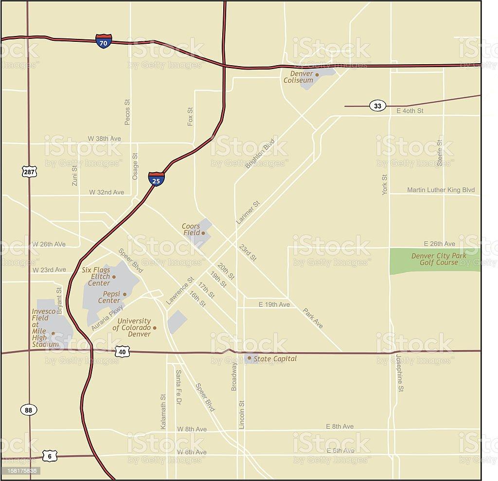 Denver Colorado Map vector art illustration