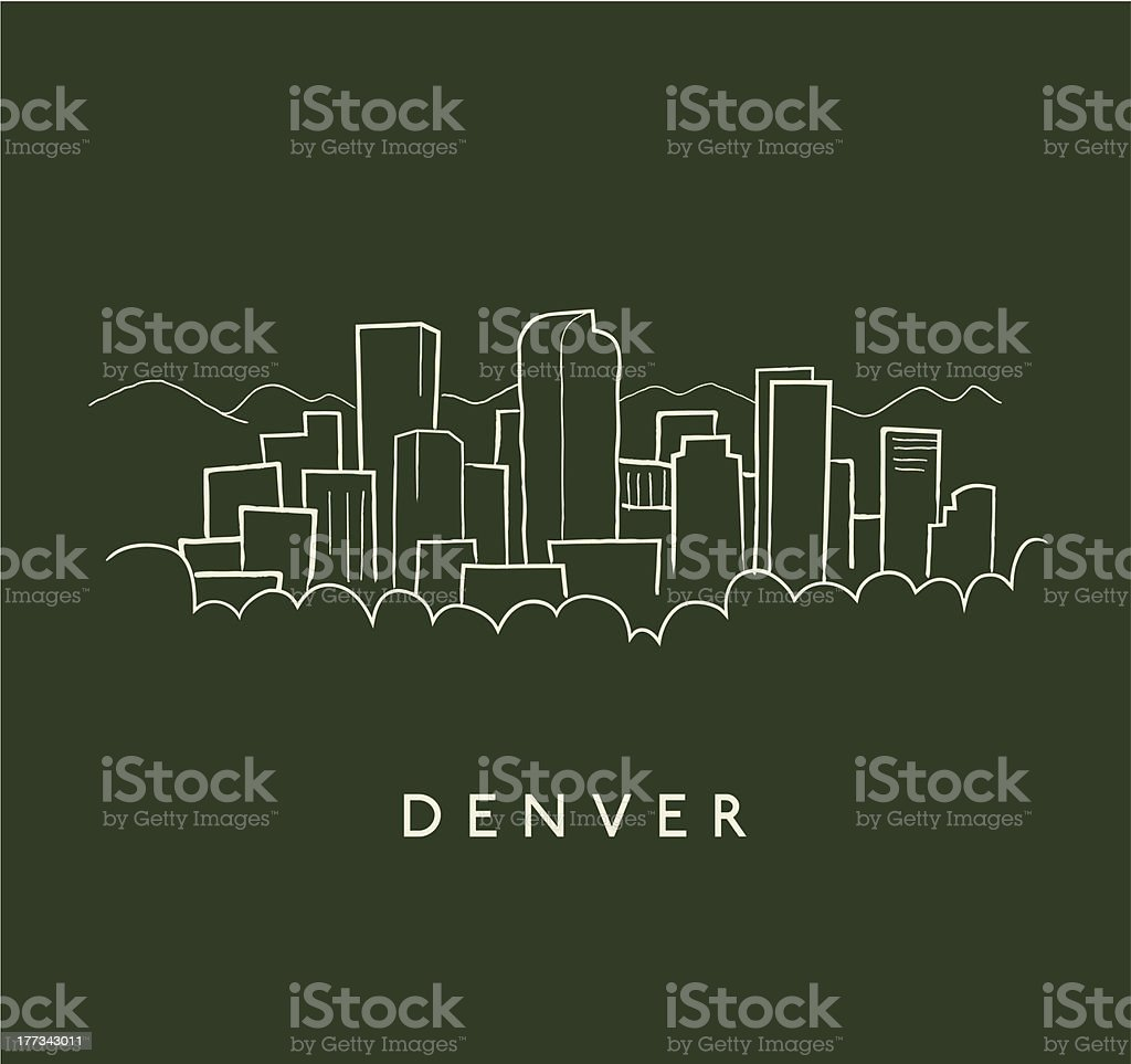 Denver Skyline Sketch vector art illustration