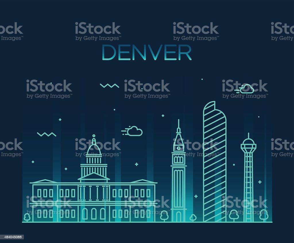 Denver skyline trendy vector illustration linear vector art illustration