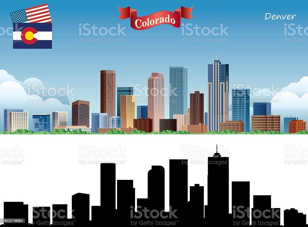 Denver Skyline vector art illustration
