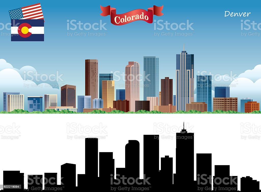 Denver Skyline vector art illustration