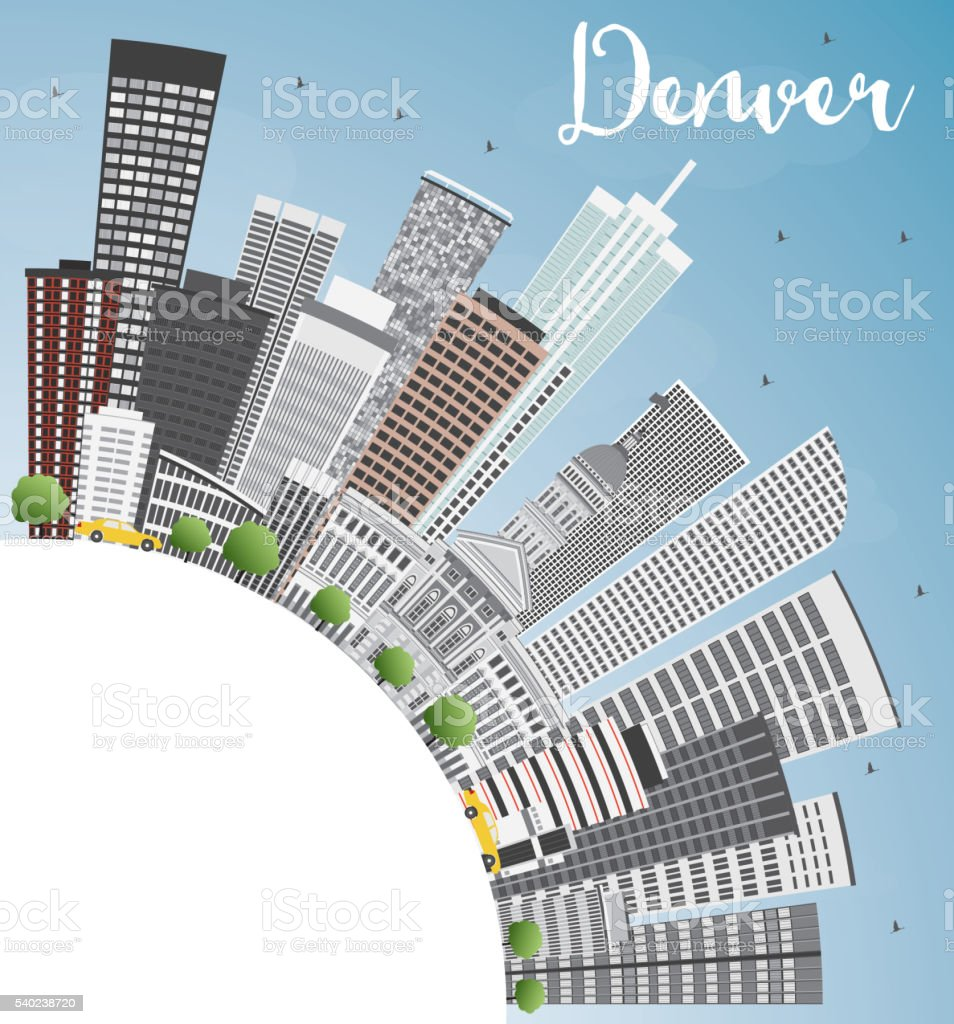 Denver Skyline with Gray Buildings, Blue Sky and Copy Space. vector art illustration