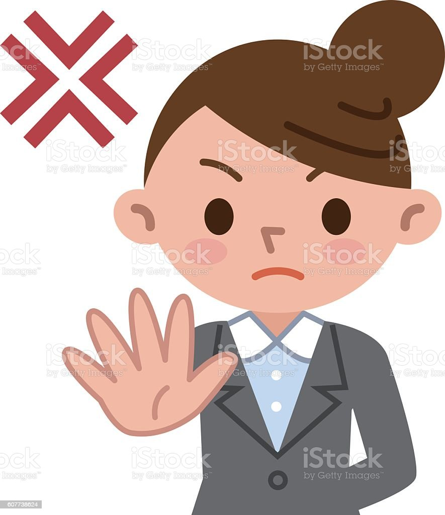 Deny young business woman vector art illustration