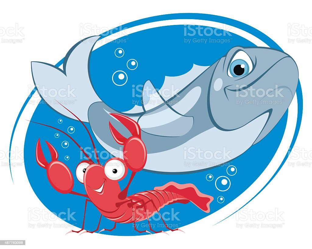 Department of seafood vector art illustration