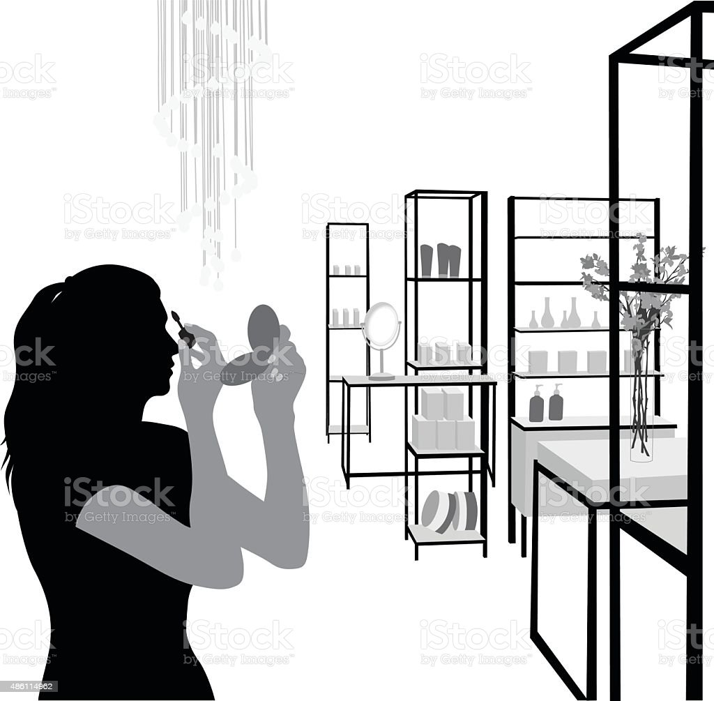 Department Store Beauty Section vector art illustration