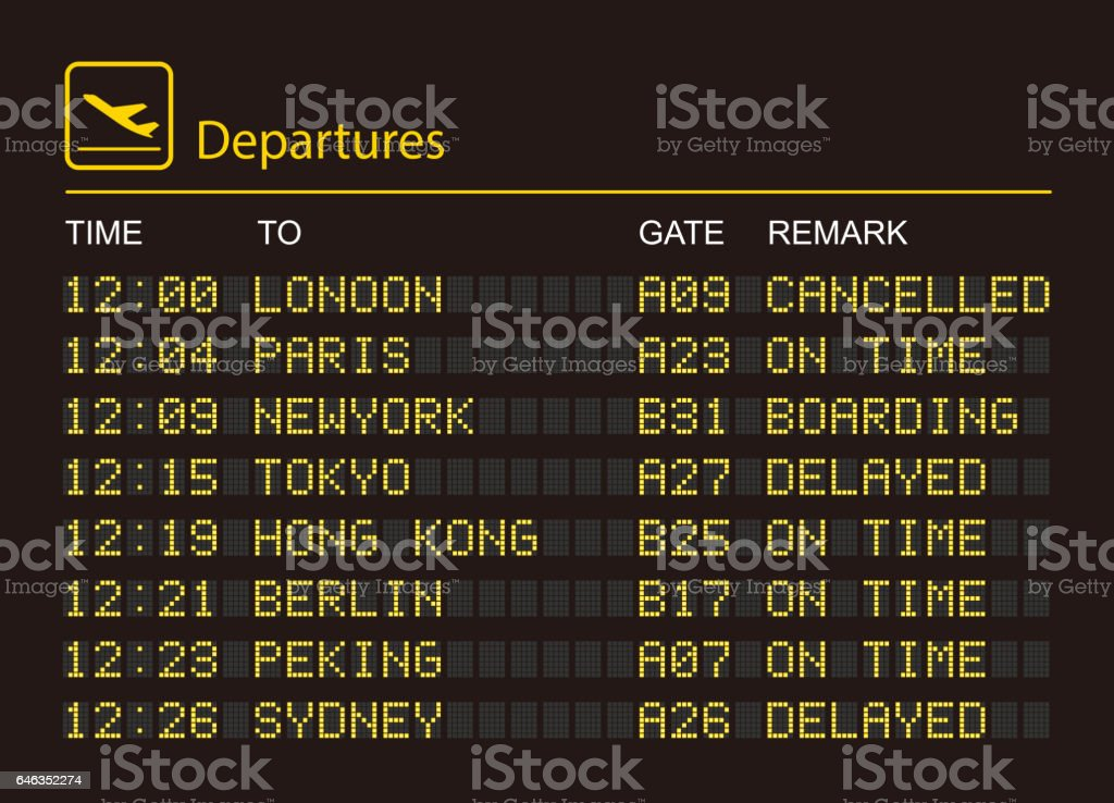 Departures information board vector art illustration