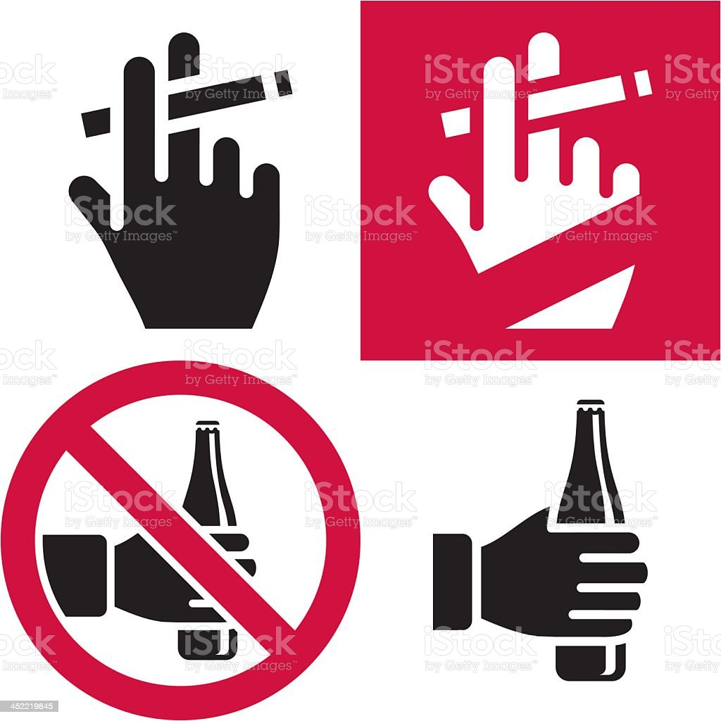 Depiction of no smoking and no drinking signs vector art illustration