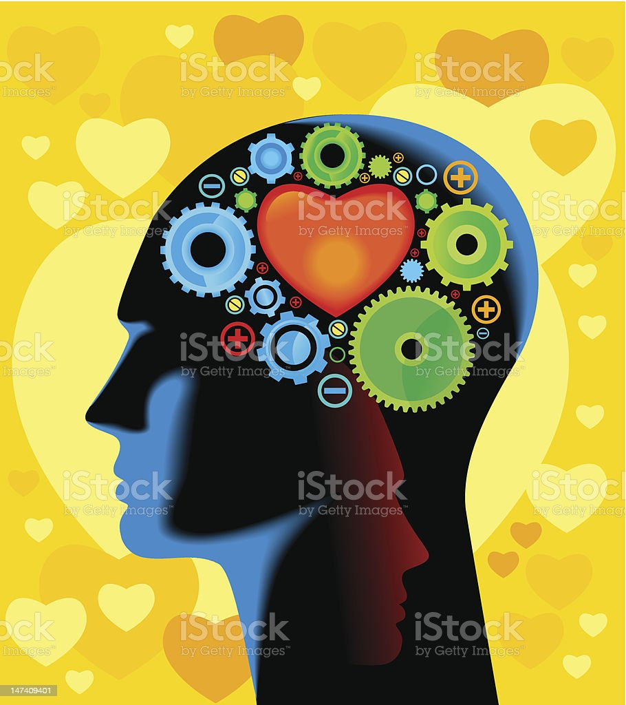 Depiction of woman's head thinking with large heart  royalty-free stock vector art