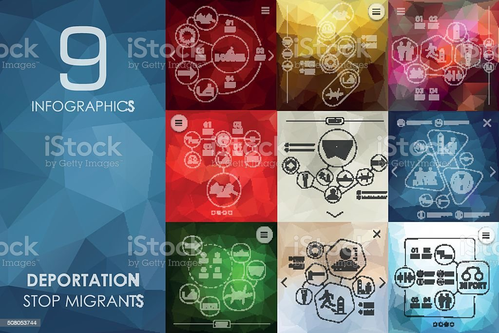 deportation infographic with unfocused background vector art illustration