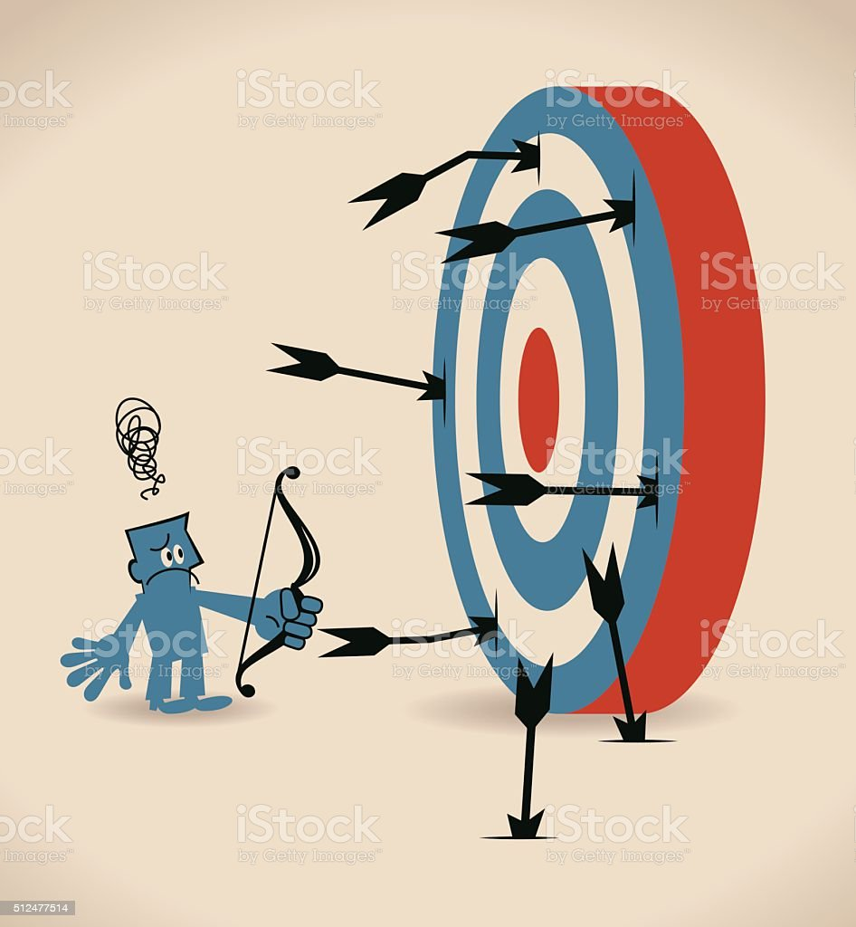 Depressed businessman shooting with bow and arrow, arrows missing target vector art illustration