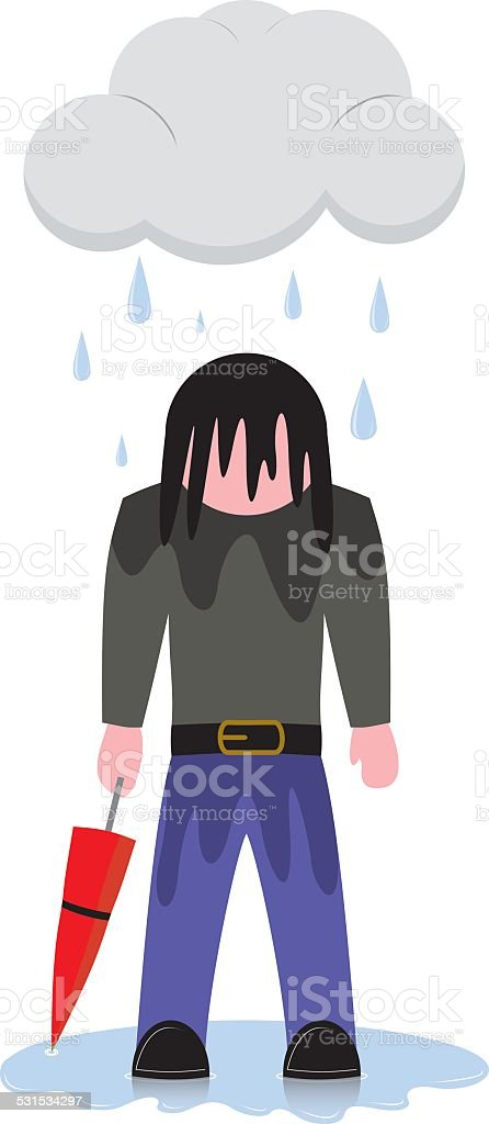 Depressed Figure vector art illustration