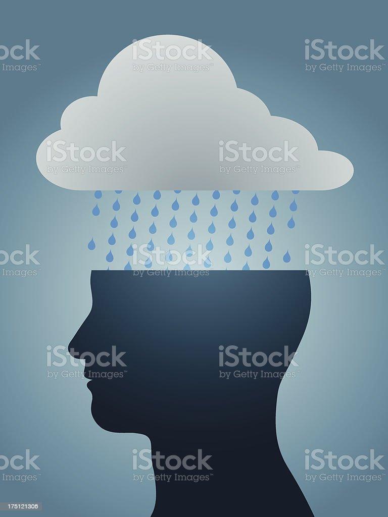 depressed head silhouette with dark rain cloud vector art illustration
