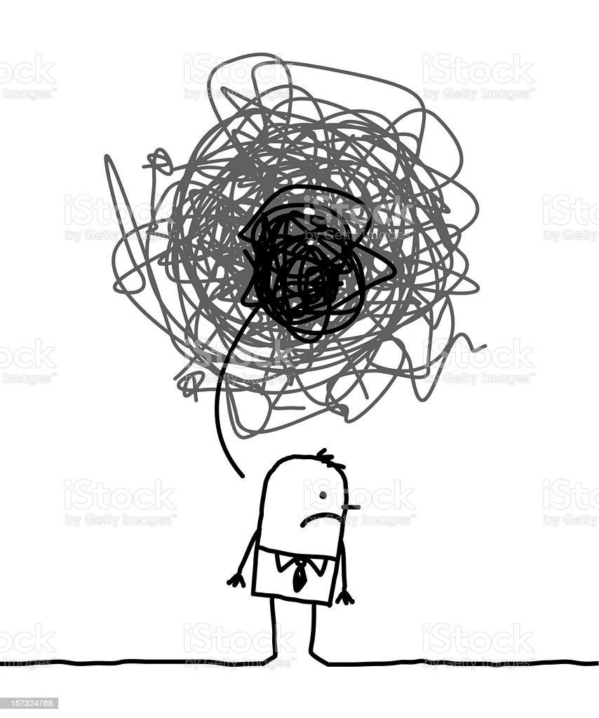 depressed man vector art illustration