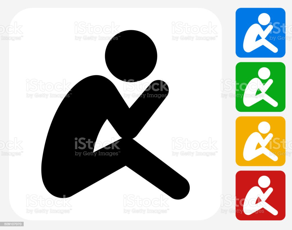 Depressed Stick Figure Icon Flat Graphic Design vector art illustration