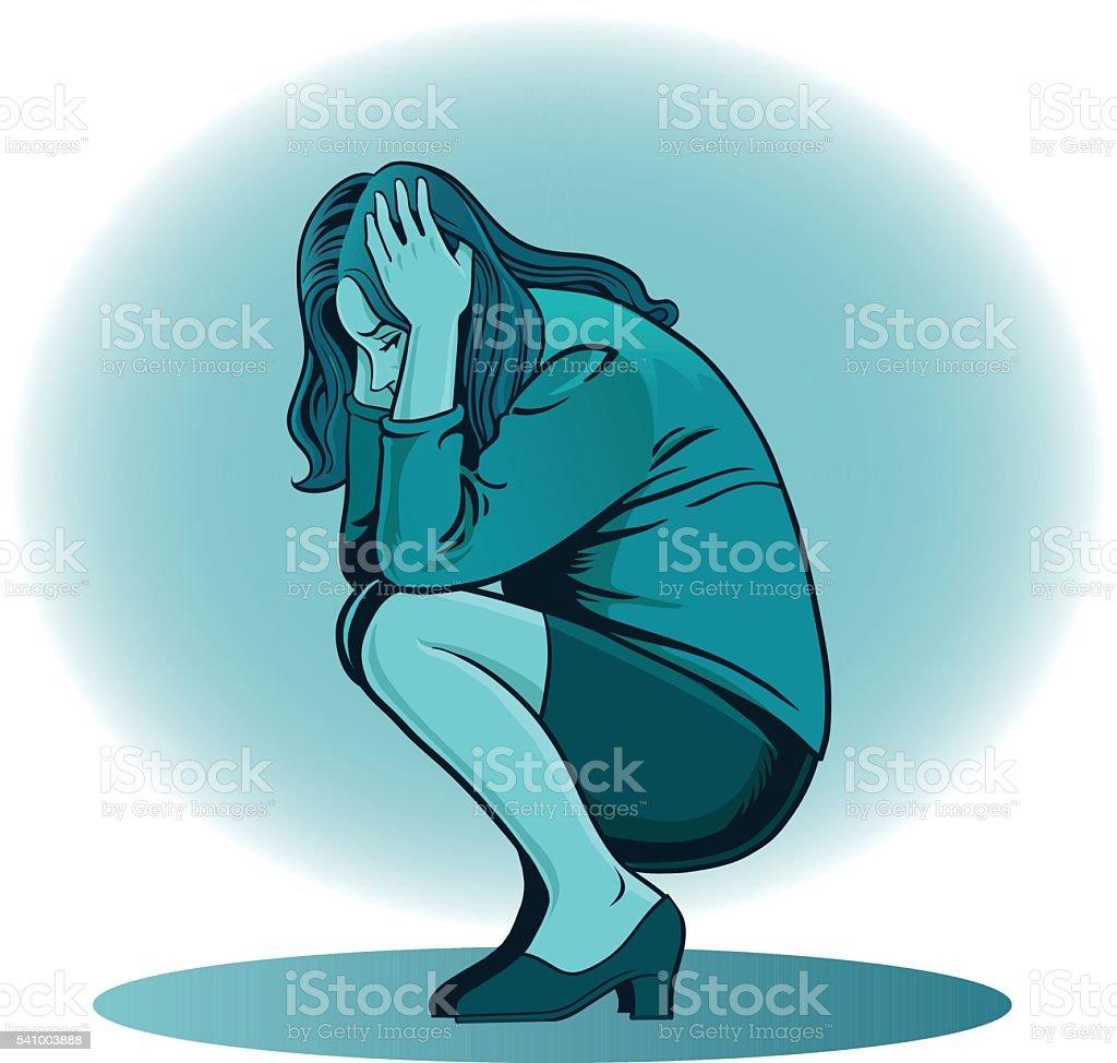 Depressed Woman in Blue vector art illustration