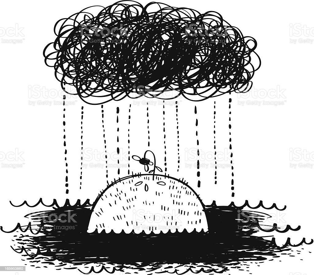 Depressing Rain vector art illustration