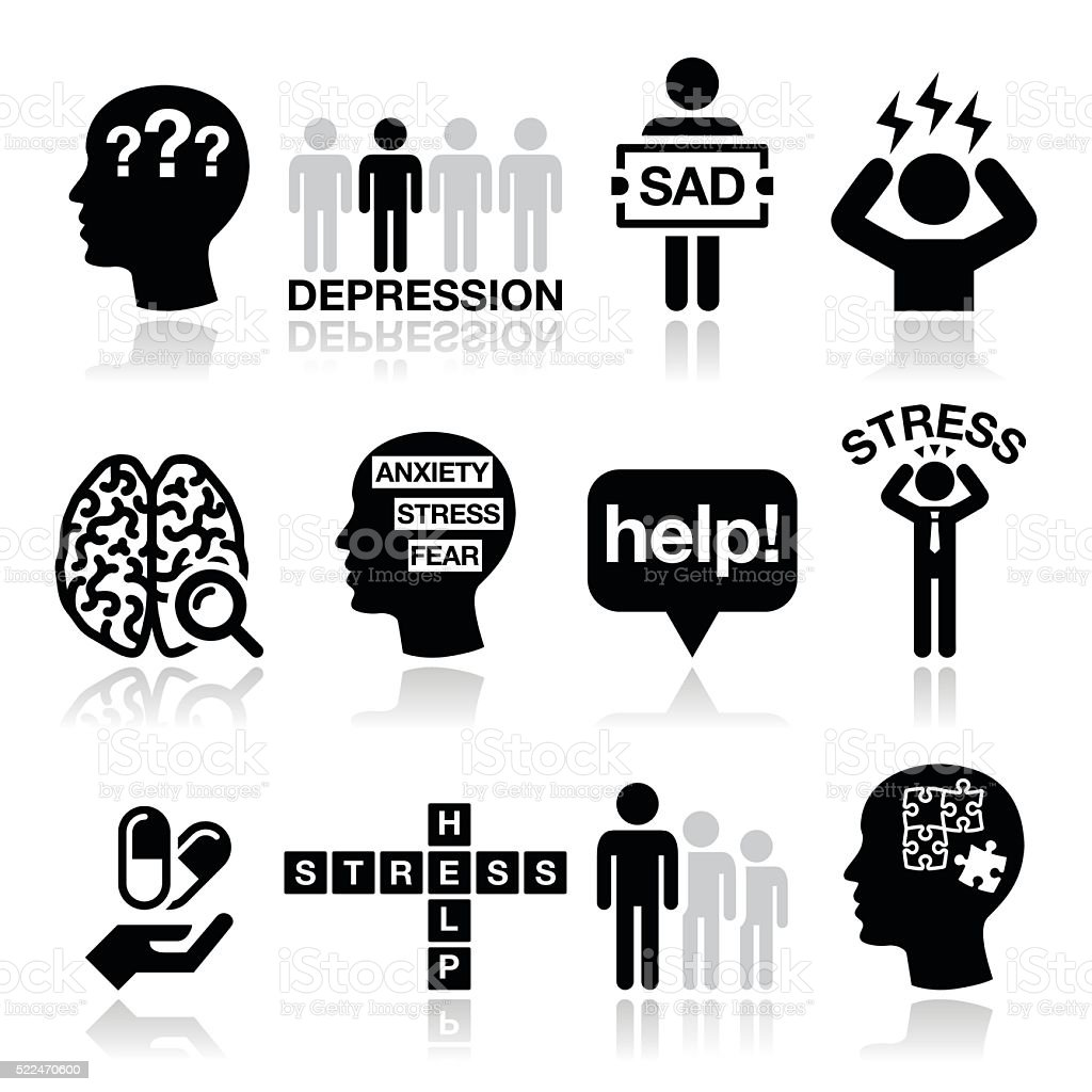 Depression, stress icons set - mental health concept vector art illustration