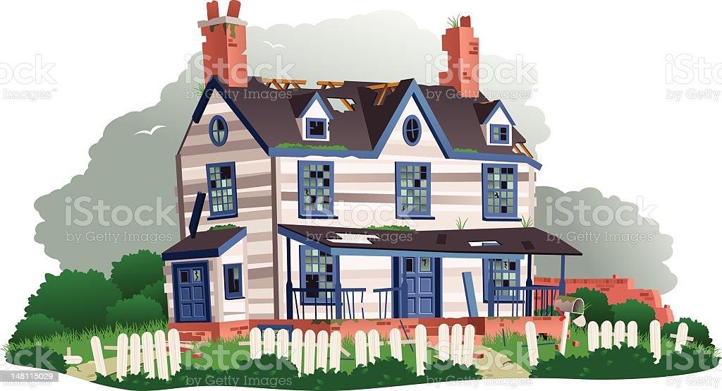 Derelict abandoned house vector art illustration