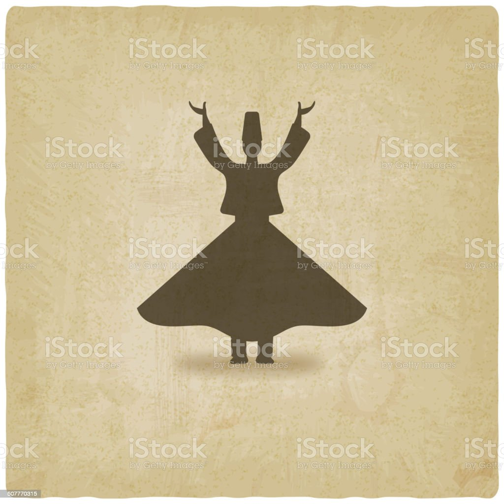 dervish dancer old background vector art illustration
