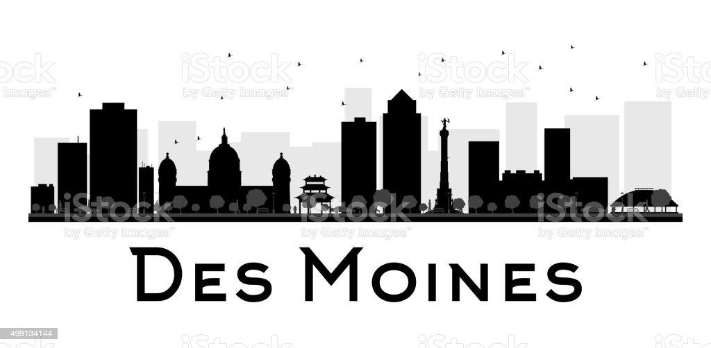 Des Moines City skyline black and white silhouette vector art illustration