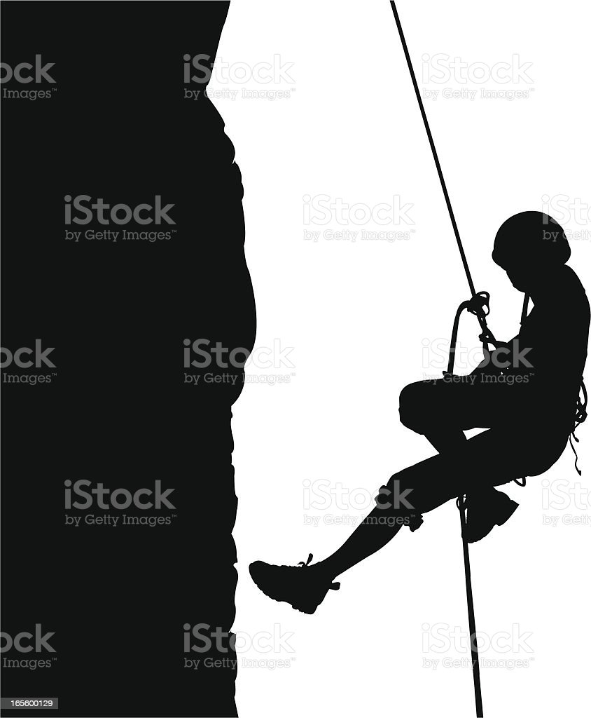 Descending on rope vector art illustration