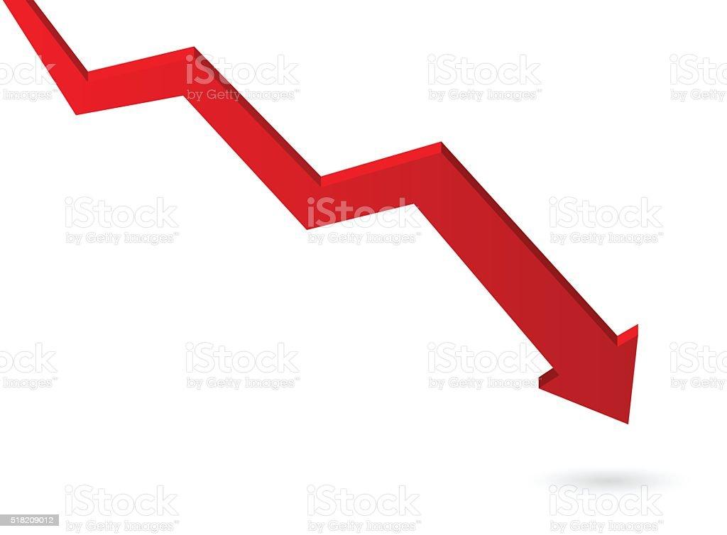 Descending red arrow symbol vector art illustration