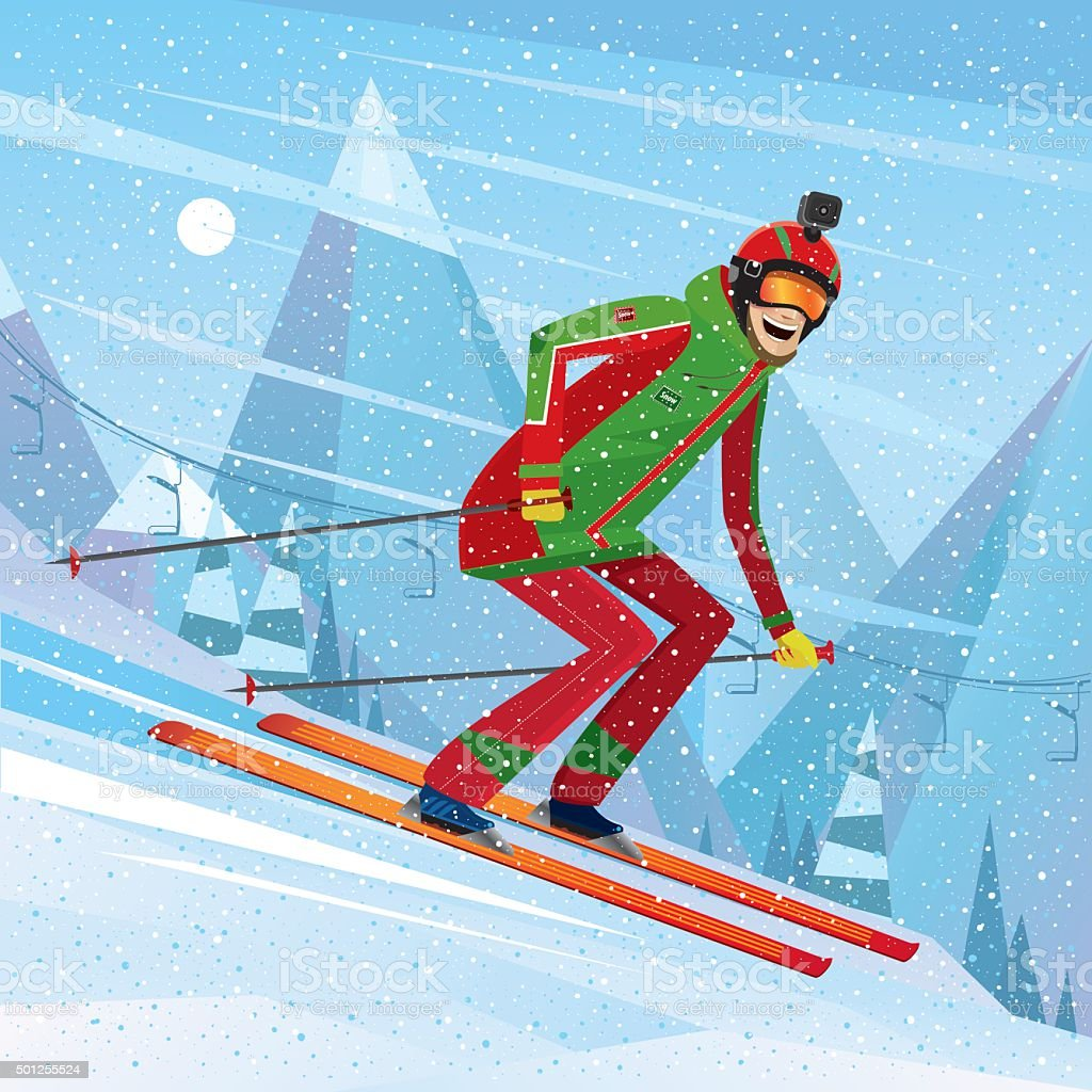 Descent from the mountain on skis vector art illustration