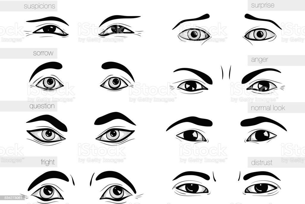 description of human emotions  eyes vector art illustration