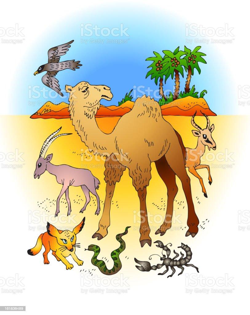Desert Animals on Background royalty-free stock vector art
