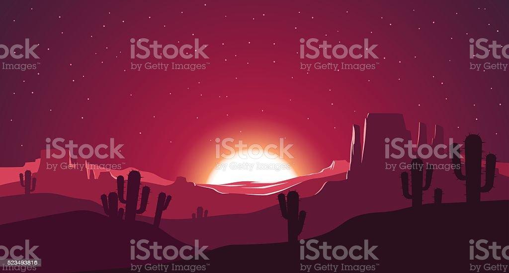 Desert at sunset illustration vector art illustration