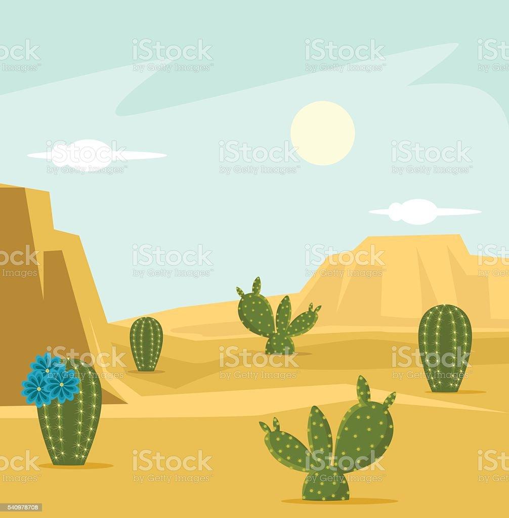 Desert background. Vector flat cartoon illustration vector art illustration