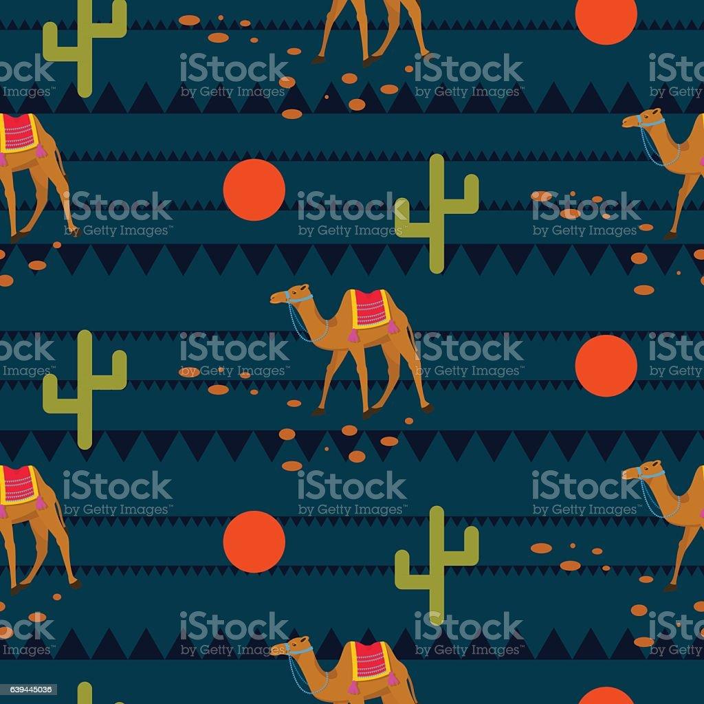 Desert camels on ethnic night blue pattern. vector art illustration