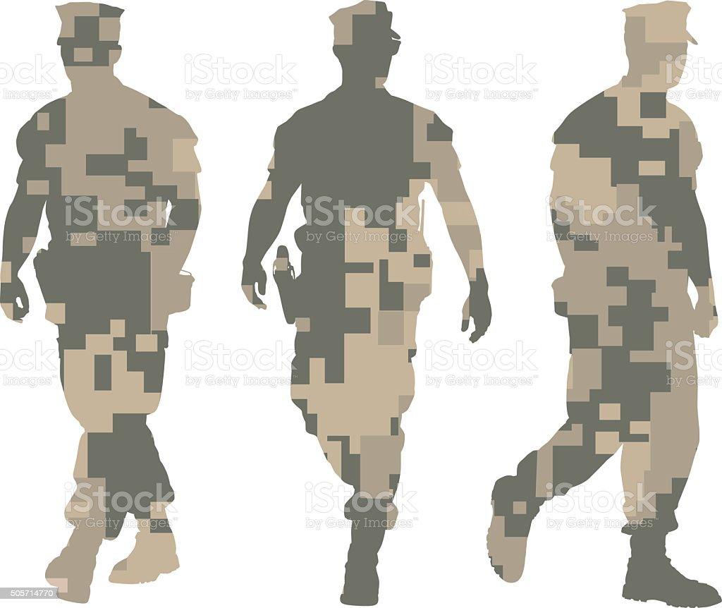 Desert Camouflage Marines Silhouettes vector art illustration