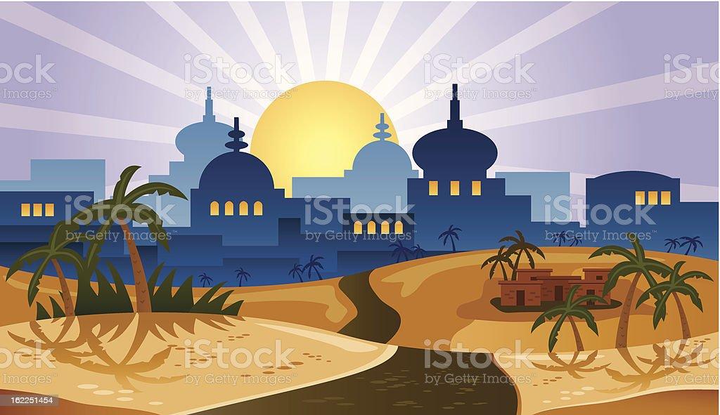 Desert City vector art illustration