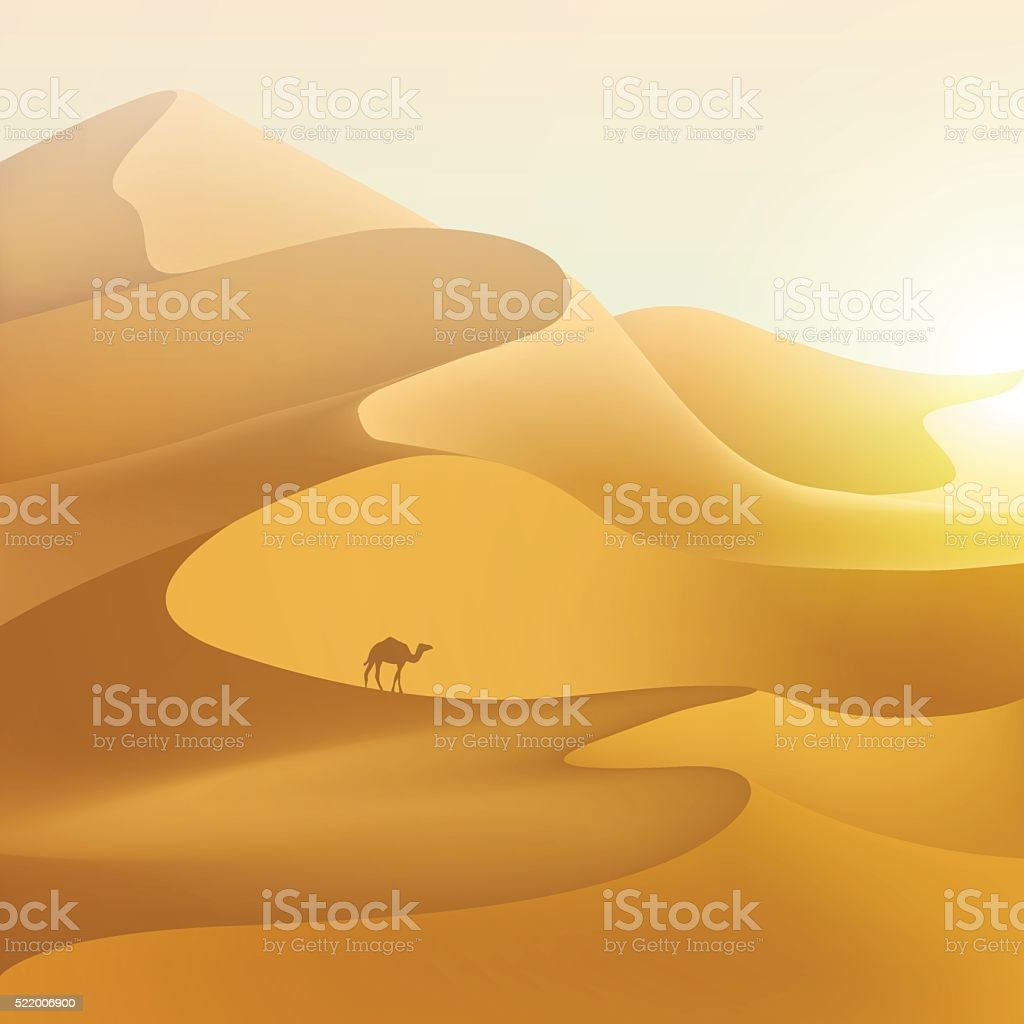 Desert dunes landscape. vector art illustration