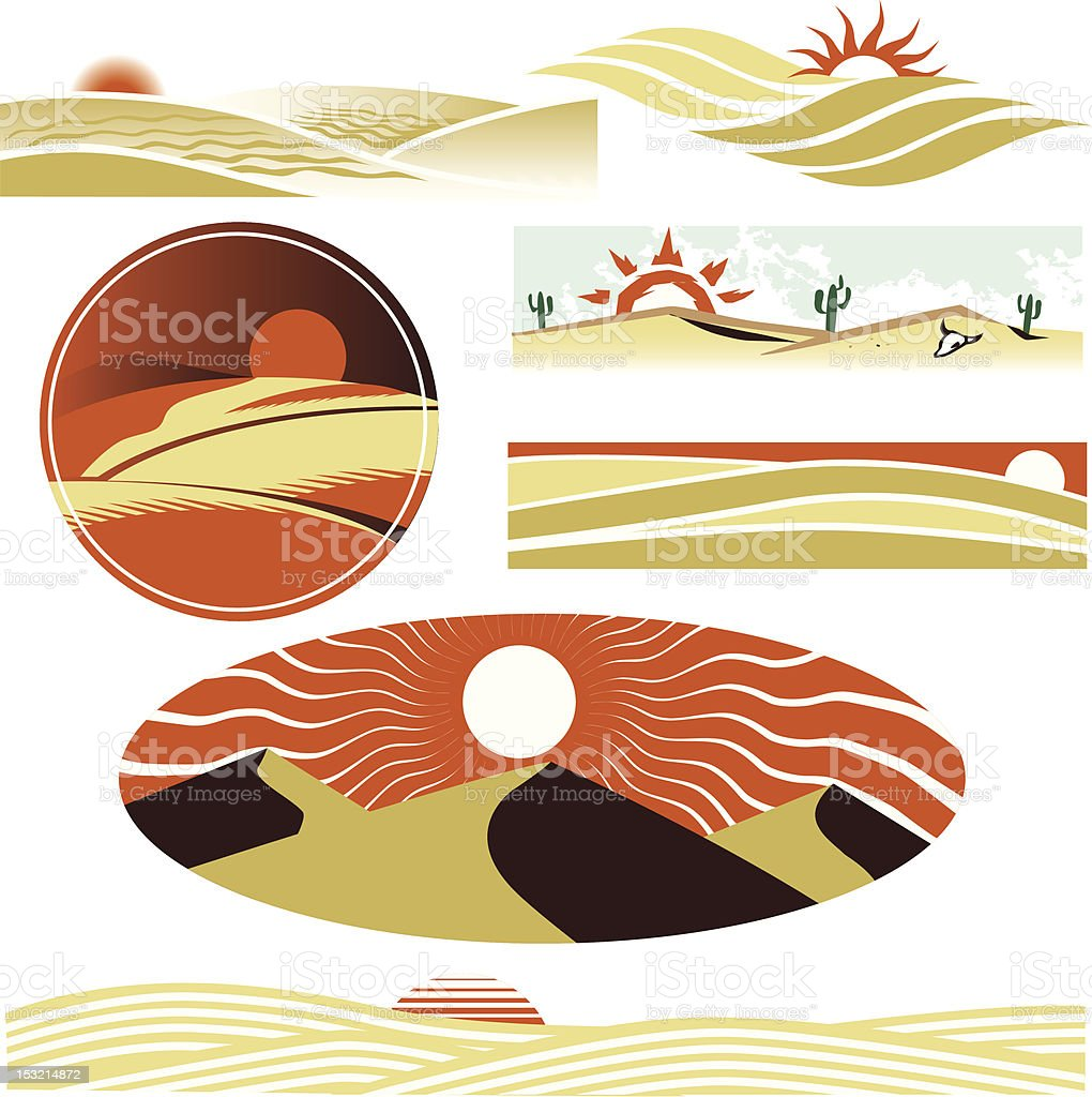 Desert Dunes vector art illustration
