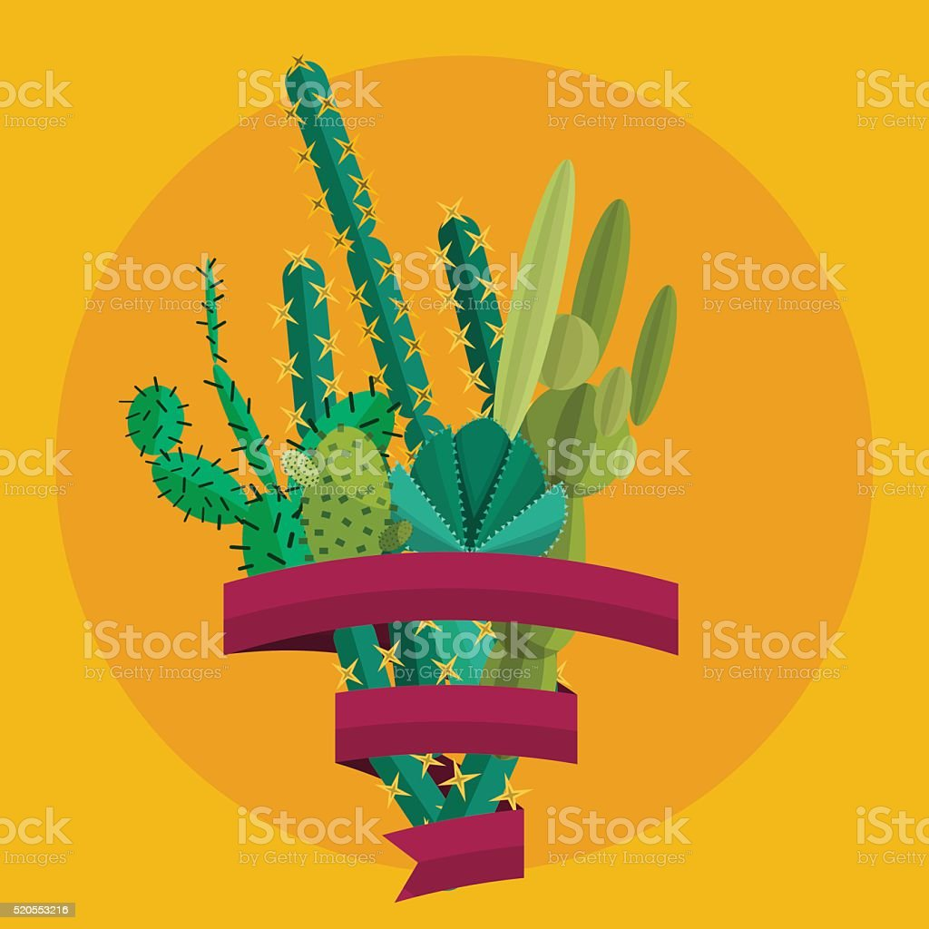 Desert flowers.Exotic plant, bush, palm tree and cactus vector...