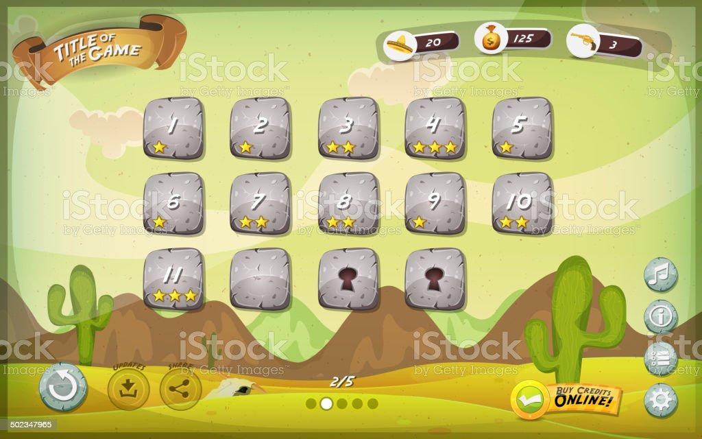 Desert Game User Interface Design For Tablet vector art illustration