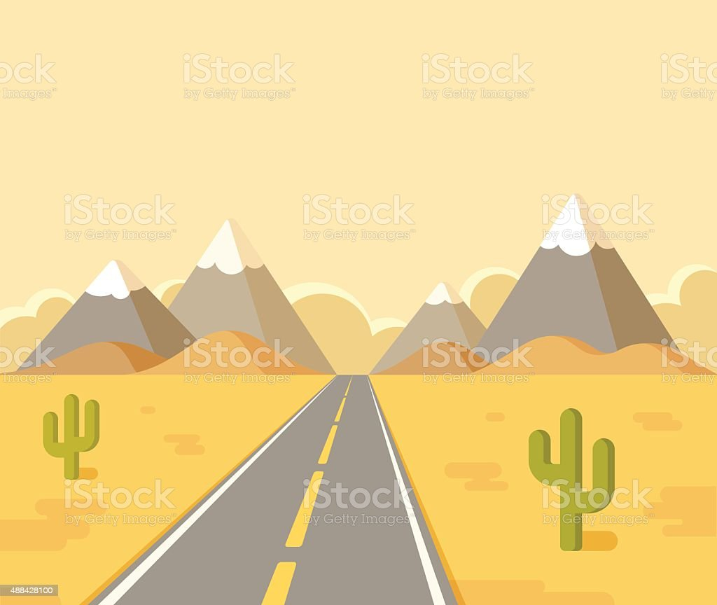 Desert highway landscape vector art illustration