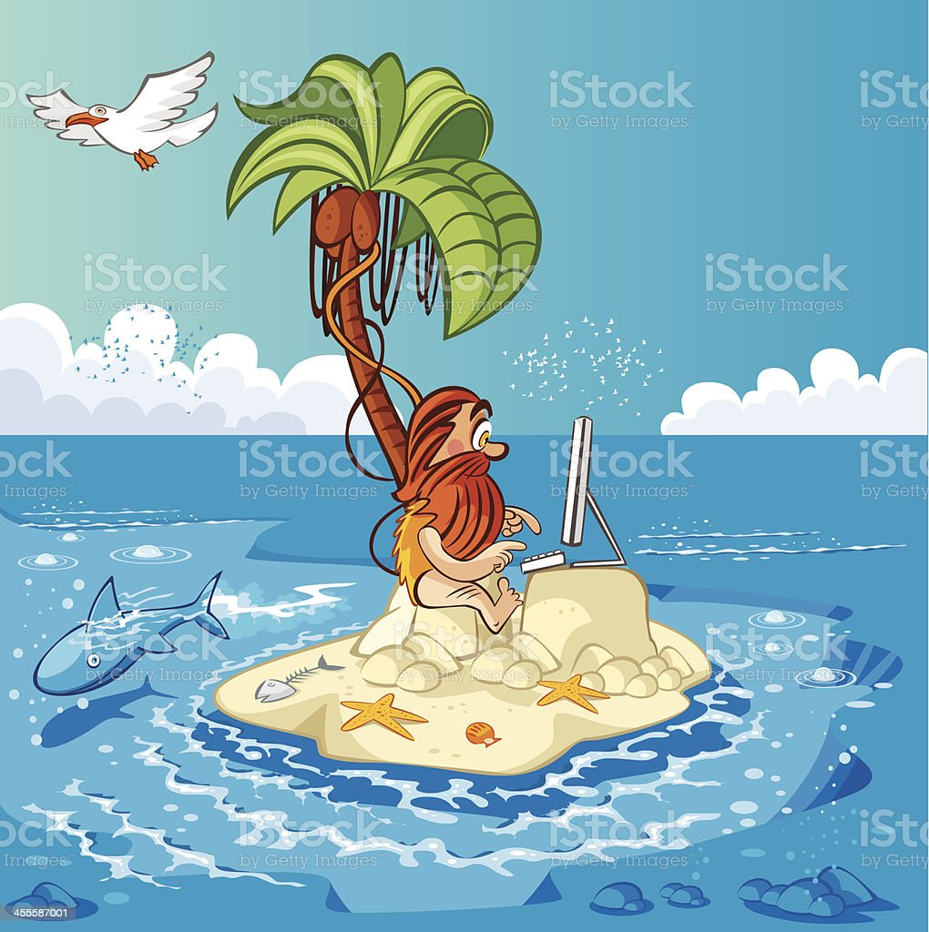 Desert Island and computer vector art illustration
