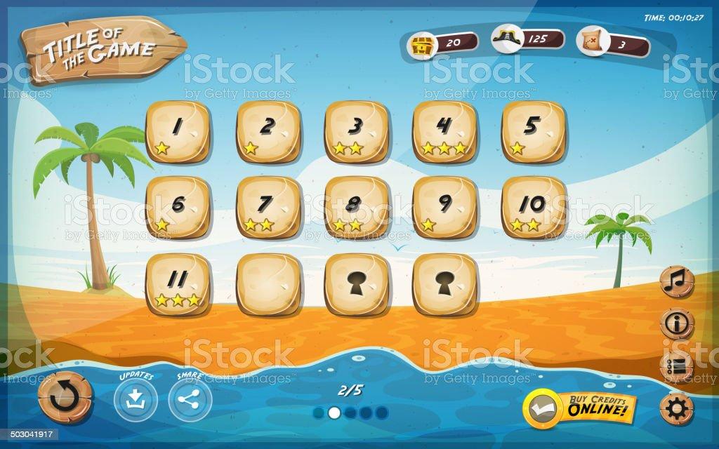 Desert Island Game User Interface Design For Tablet vector art illustration