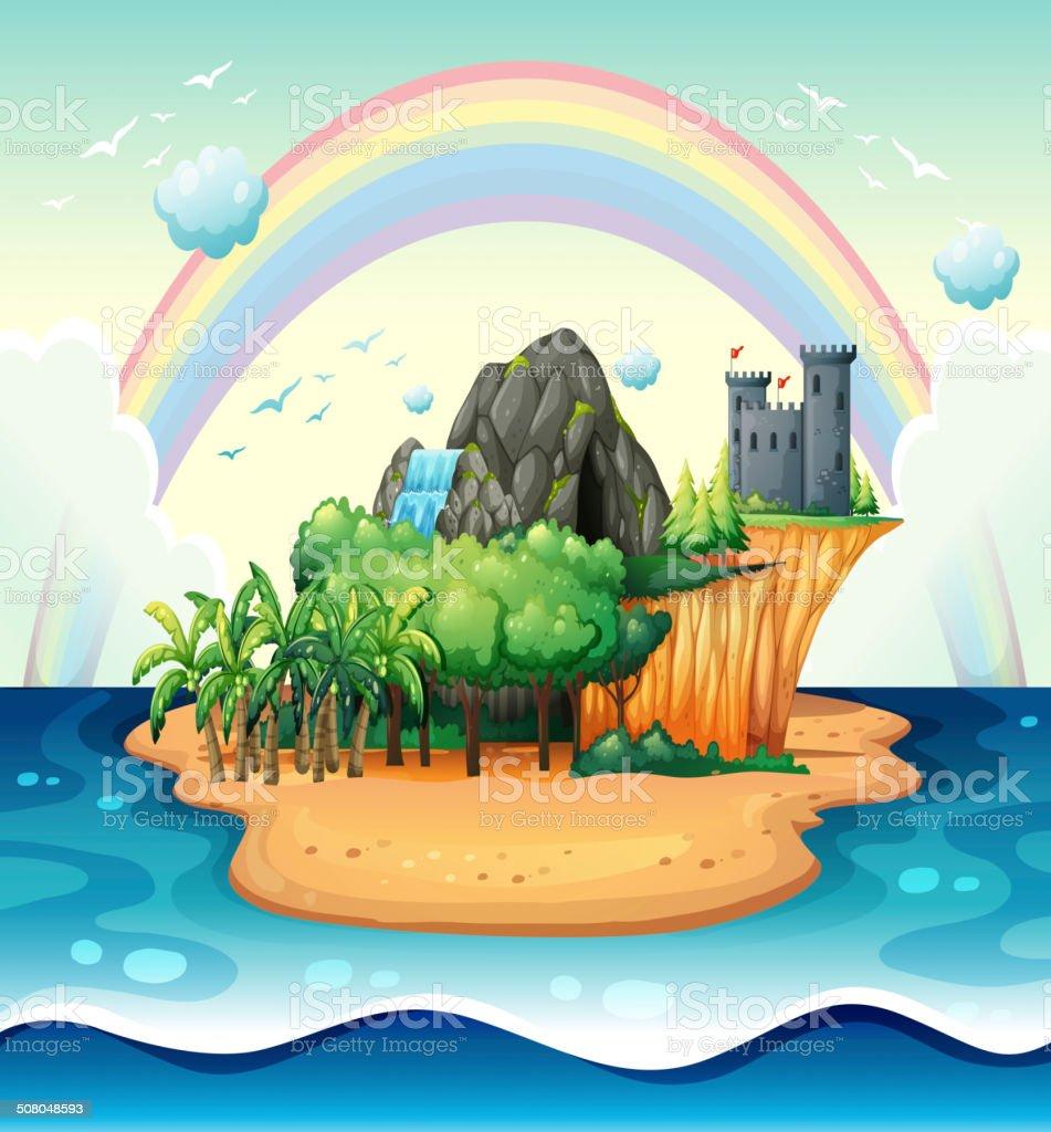 Desert island vector art illustration