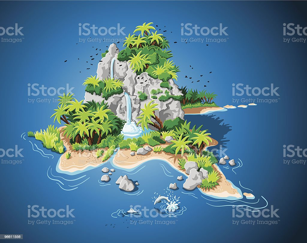 Desert Island vector art illustration