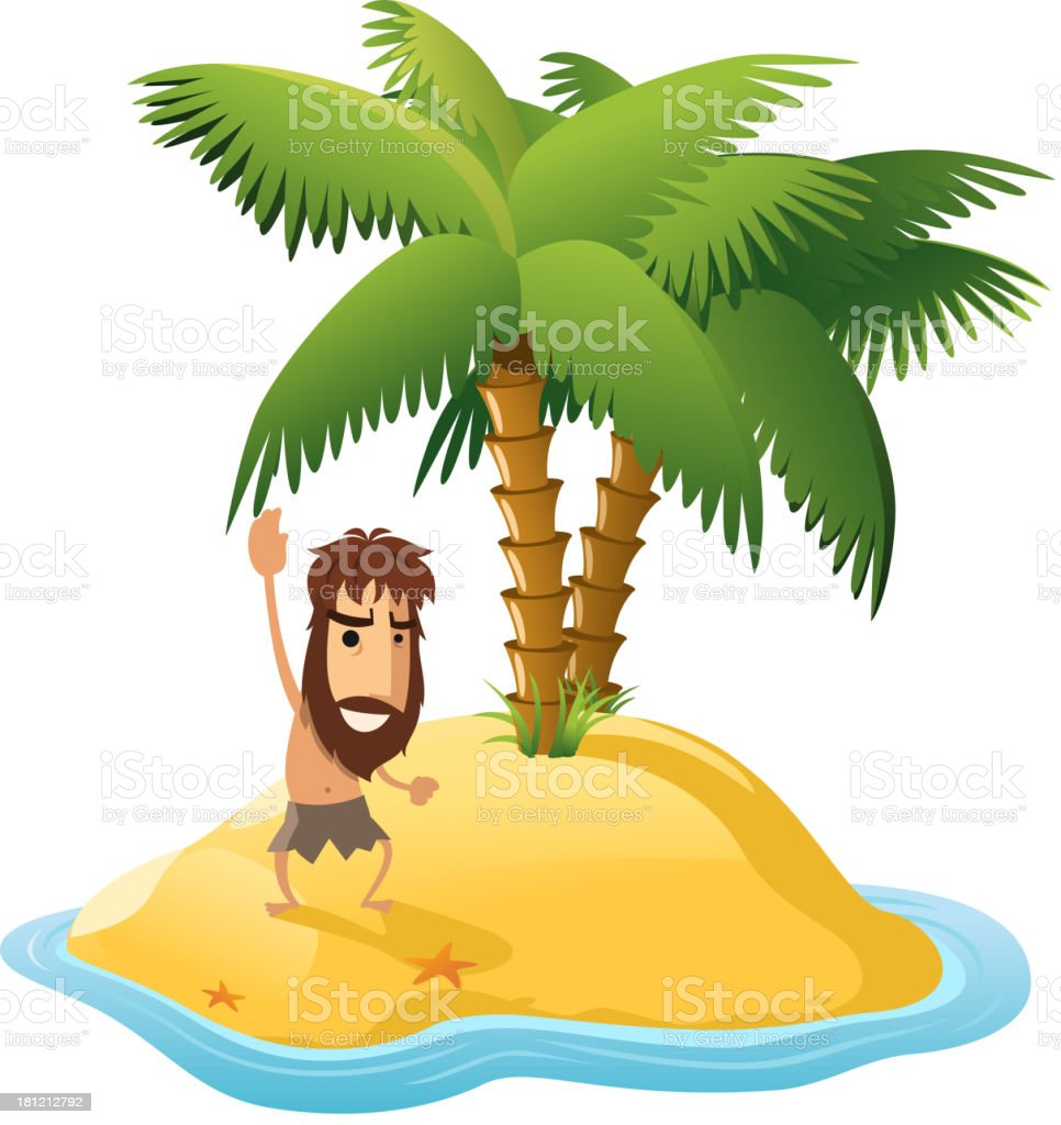 Desert Island With Palm Trees and Shipwrecked Man vector art illustration