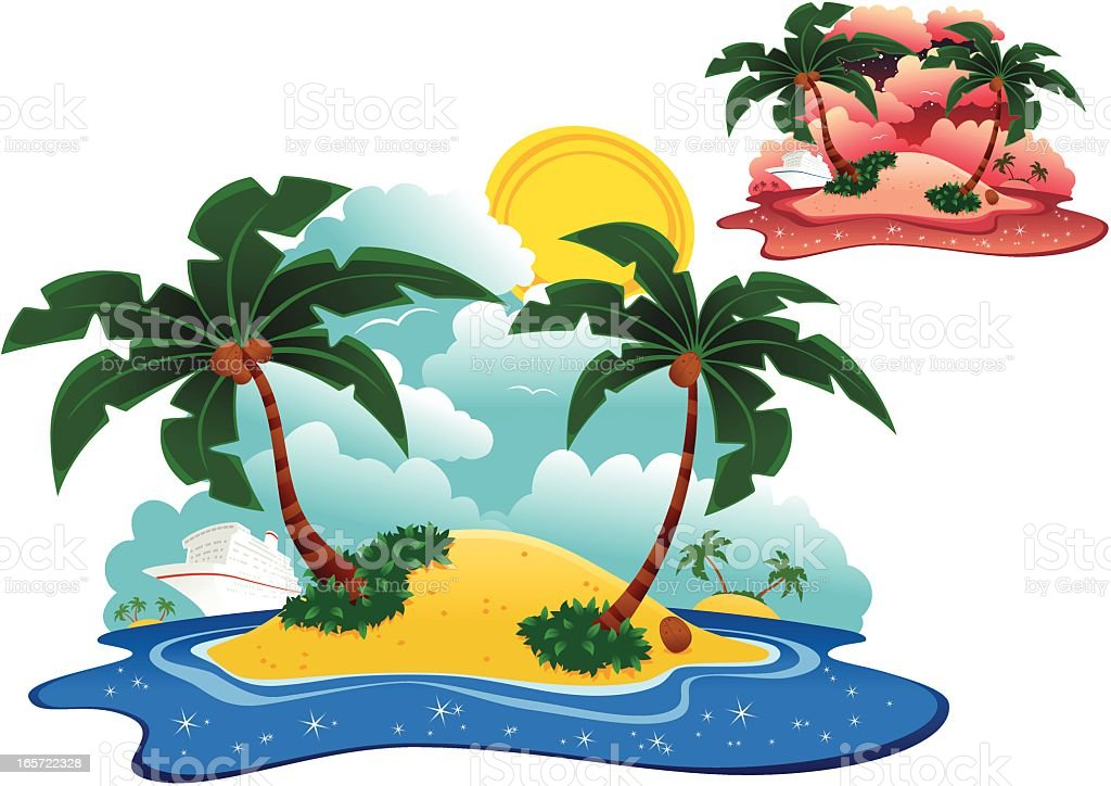 Desert islands and cruise ship royalty-free stock vector art