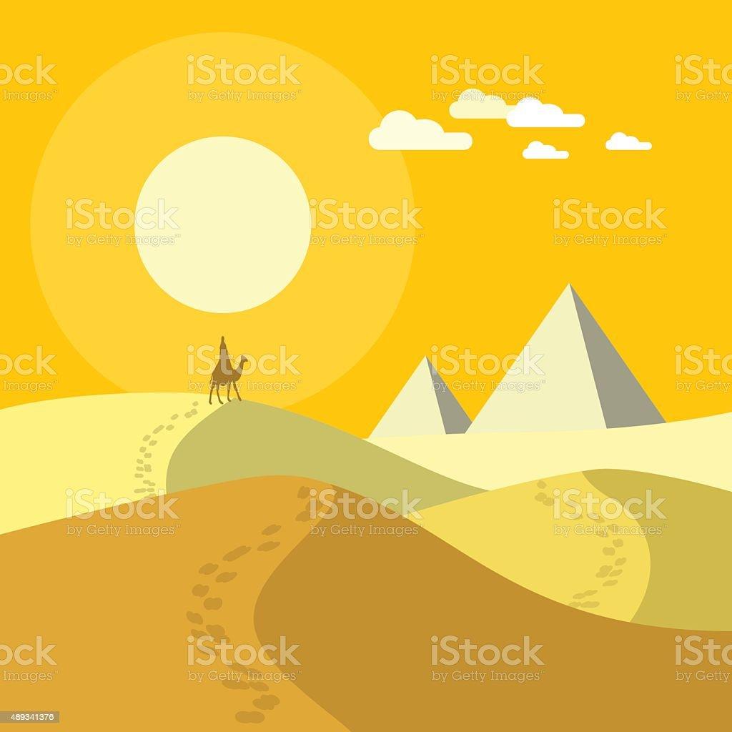 Desert landscape vector art illustration