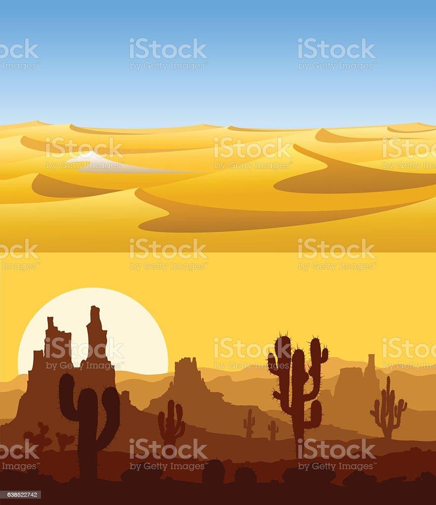 Desert landscapes vector set. vector art illustration