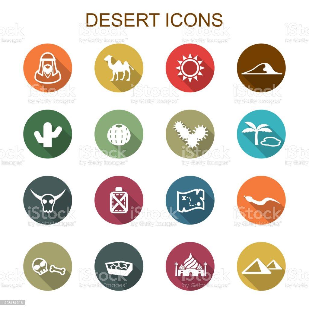 desert long shadow icons vector art illustration