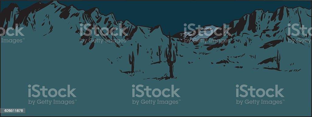 Desert Mountain Background at Night vector art illustration